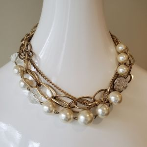 Gold Chain and Peal Accents Necklace
